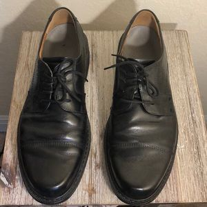 Ecco Mens Black Leather Lace up Oxford Dress Shoes